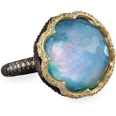 Armenta Old World Scalloped Peruvian Opal Triplet Ring with Diamonds ($2,290) ❤ liked on Polyvore featuring jewelry, rings, opal jewelry, diamond rings, armenta, diamond jewelry and 18k jewelry