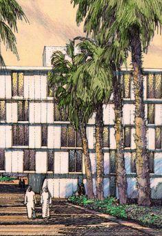 SOM, KA-CARE, Saudi Arabia.  Architectural Illustration, Sketch