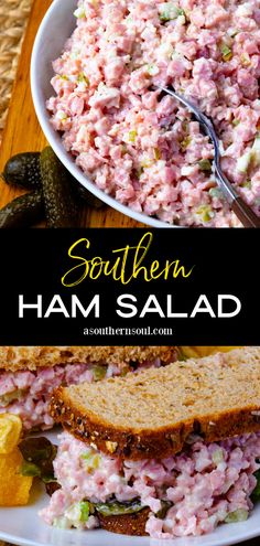 Classic Southern Ham Salad is so delicious and easy to make! It's perfect for sandwiches, on crackers, and makes a yummy dip. Turn leftover holiday ham into something amazing with this simple recipe. Pork Dishes, Tasty Dishes, Main Dish Salads, Main Dishes, Frugal Meals, Easy Meals, Ham Recipes, Sandwich Recipes, Diet Recipes