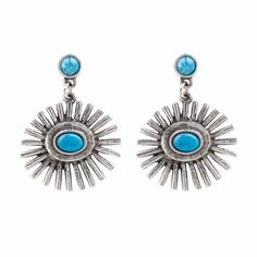 The2Bandits Silver earrings with turquoise detail, $68; the2bandits.com