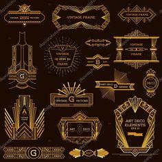 Download - Art Deco Vintage Frames and Design Elements - in vector — Stock Illustration #48841965