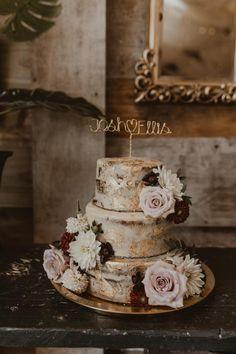 Rustic Semi-Naked Wedding Cake with Gold Leaf & Rose Decor   By Nesta Lloyd Photography   Wedding Cake Design   Rustic Wedding Cake   Rustic Wedding   Wedding Flowers   Wedding Cake Topper   Personalised Wedding Cake Topper   Gold Wedding Cake