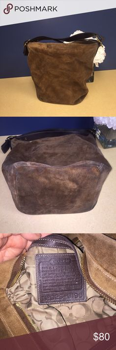 Coach Suede Purse Very beautiful and soft high quality suede. This purse needs a good scrubbing to corners and aides other wise there's just minimal wear inside purse Coach Bags