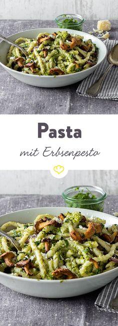 Entdecke das Rezept für Pasta mit Pfifferlingen und Erbsenpesto und viele weitere köstliche Rezepte im Springlane Magazin.