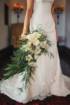 Gorgeous White and Green Cascade Bouquet for an Historic Villa Wedding | Vitaly M Photography | See More! http://heyweddinglady.com/historic...