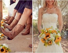 If I renewed my vows...would totally use sunflowers and it would be outdoors.