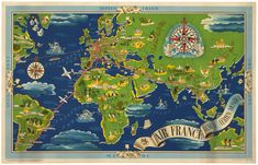 flight routes and illustrated world map c1948 see more 1937 air france reseau aerien mondial