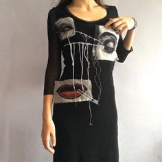 Vintage Jean Paul Gaultier dress black stretch sheer mesh midi dress eye  patch lips threads surrealist cigarette vtg JPG Gaultier tattoo 0a69ceb8d