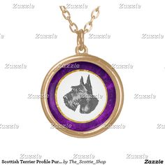 Scottish Terrier Profile Purple Round Pendant Necklace