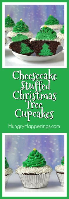 Cut into one of these festively decorated cupcakes to reveal a mini cheesecake shaped like a Christmas tree hiding inside. These Cheesecake Stuffed Christmas Tree Cupcakes will put any Scrooge into the Christmas spirit. Christmas Cupcakes Decoration, Christmas Tree Cupcakes, Christmas Snacks, Xmas Food, Christmas Goodies, Christmas Baking, Christmas Ideas, Christmas Eve, Holiday Ideas