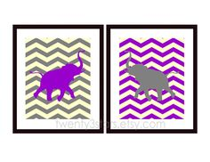 Chevron Elephant Pair of Giclée Prints, You Choose the Colors, Wall Art Unframed, Perfect for a Nursery or Baby Shower. $30.00, via Etsy.