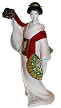 geisha dancing with mask, Japanese ceramic doll