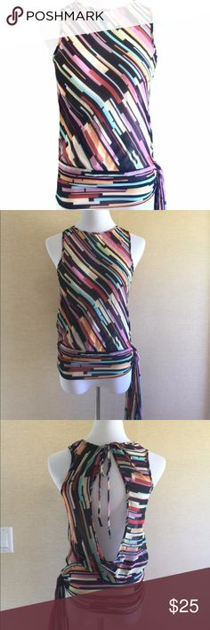 Pookie & Sebastian cute sheer top size medium.EUC. Pookie & Sebastian cute sheer top size medium.EUC. Diagonal stripes, open back and tie on the side. Worn 1x. EUC Pookie & Sebastian Tops