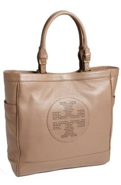Amazon.com: Tory Burch Kipp Pebbled Leather Shoulder Tote Bag - Sand Dollar.