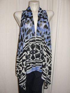 INC International Concepts Womens Size M Blue Black White Animal Print Vest Top #INCInternationalConcepts