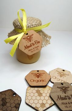50 1.5 x 1.5 Honey Tags Custom Wedding Tags Wood by GrainDEEP