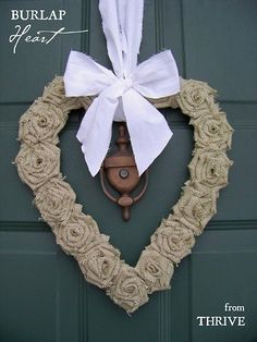burlap heart- Burlap is difficult to work with. Frays really easy, but cute flower