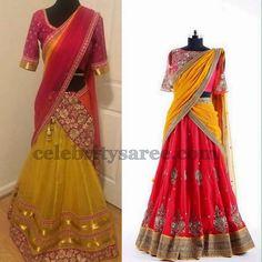 Light Yellow Pink Half Sarees   Saree Blouse Patterns