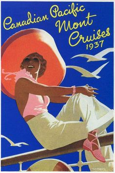 tom purvis - canadian pacific mont cruises poster, 1937