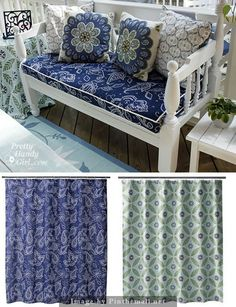Tip: when sewing items exposed to outdoors, use shower curtains. These shower curtains were purchased from Target for under $20 and used for porch bench cushion and end table tablecloth.