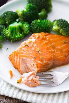 Easy Healthy Dinner: Garlic Honey Ginger Glazed Salmon with Broccoli.