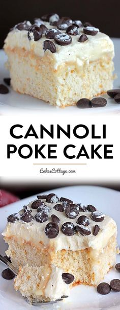 Cannoli Poke Cake Recipe - Cakescottage Cannoli Poke Cake Recipe - Cakescottage Cannoli Poke Cake Recipe - Cakescottage<br> Do you like poke cakes? Try this white cake soaked in sweetened condensed milk and topped with an Ah-Mazing cannoli filling. Mini Desserts, Easy Desserts, Delicious Desserts, Easy Birthday Desserts, Cannoli Poke Cake, Cannoli Filling, Easy Cannoli Cake Recipe, Yum Yum Cake Recipe, Cannoli Dip