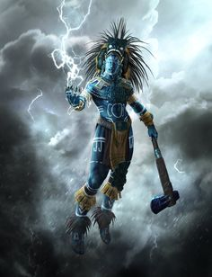 Chaac - Mayan god of Rain and Thunderstorms, Fertility and Agriculture Character Concept, Character Art, Concept Art, Fantasy Warrior, Fantasy Art, Illustrations Pop, Fashion Illustrations, Aztecas Art, Aztec Tattoo Designs