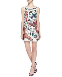 Elliotte Bird/Paisley-Embellished Sequined Shift Dress by Alice + Olivia at Bergdorf Goodman.