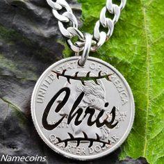 Custom Name Baseball Necklace, On a Quarter, hand cut coin – NameCoins