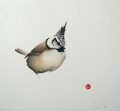 Crested Tit by Karl Mårtens - Litografier « Edition Vulfovitch