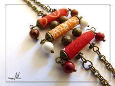 Bracelet en perles textiles et perles de métal bronze. : Bracelet par lydia-nowik-dans-ma-tour-d-ivoire