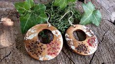 Orecchini legno naturale cerchio fiori pressati argento 925 gioielli botanici, by Evangela Fairy Jewelry, 11,00 € su misshobby.com