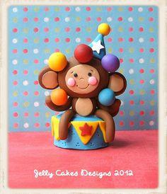 monkey cake topper by jelly beads, via Flickr