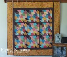Flying Kimonos Quilt - Free jelly roll quilting pattern that is inspired by Japanese crafting ideas.