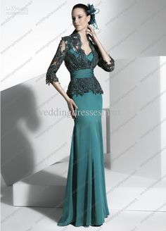 Teal wedding dress with lace jacket