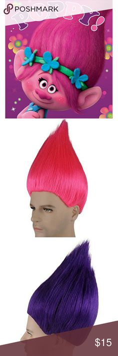 Trolls Poppy Adult wigs costume cosplay Dreamworks Enter I to Poppy's world from the DreamWorks movie TROLLS!  Brand new wigs never opened or worn. Come in three different colors, light blue, pink (Poppy), and dark purple. Adult size wigs. Dreamworks Accessories Hair Accessories