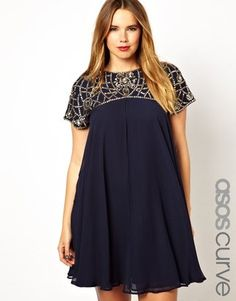 ASOS CURVE Exclusive Premium Swing Dress With Embellished Neck. yep, just window shopping! Plus Size Fashion For Women, Plus Size Women, Curvy Fashion, Plus Fashion, Womens Fashion, Plus Size Dresses, Plus Size Outfits, Swing Dress, Dress Up