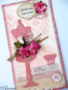 Card featuring the @Tim Holtz Sewing Room die.  Card by Annar.