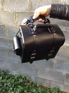 ea2a752ce65e Black genuine leather backpack shoulder bag motorcycle rear seat bag