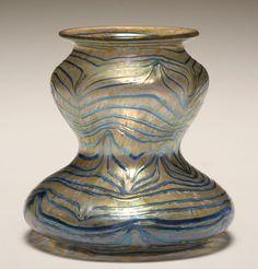 Kralik Austrian iridescent art glass vase. Austrian Art Nouveau Iridescent Glass Vase by Kralik, Loetz or Rindskopf. Circa 1900-1910.