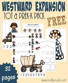 Westward Expansion Tot & PreK-K Pack {sub freebie} Wild West Activities, Pre K Activities, Teaching Activities, History Activities, Teaching Ideas, Western Theme, Cowboy Theme, Western Cowboy, Wild West Theme