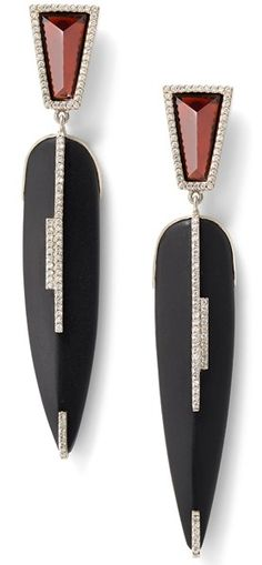 Black tourmaline, garnet, and white diamond earrings, 18 carat recycled white gold, 0.52 TCW