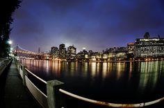 A Rainy Sunset from Roosevelt Island - Manhattan and the Queensboro Bridge