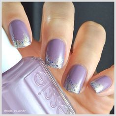 Light Lavender Lilac Nails with silver glitter tip Purple Wedding Nails, Light Purple Nails, Purple Glitter Nails, Purple And Silver Nails, Glittery Nails, Glitter Dust, Peacock Wedding, Fancy Nails, Green Glitter