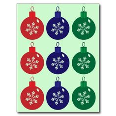 Christmas Baubles Postcard  #Christmas #Baubles #Postcard