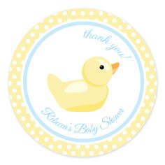 Rubber Duck Large Party Labels | Personalised Baby Shower Large Party Stickers - Pink Frosting Party Shop