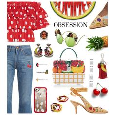 Summer obssesion: Fruit Is Trending in Fashion by hamaly on Polyvore featuring moda, Caroline Constas, Bliss and Mischief, MR by Man Repeller, Dolce&Gabbana, Sevan Biçakçi, Elizabeth Cole, Altuzarra, By Lilla and Casetify
