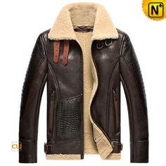 Warm shearling aviator jacket crafted from superior sheepskin shearling material, CWMALLS sheepskin flight jacket featuring double buckle straps at shearling collar, Croc embossed leather at sleeve and front patch, brass hardware, and leather waist belt. Revival Clothing, Sheepskin Jacket, Aviator Jackets, Bomber Jacket Men, Leather Bomber Jackets, Cargo Jacket, Shearling Jacket, Jacket Style, Stylish Men