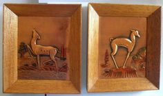 Vintage Framed COPPER RELIEF  Art DECO style Deer repousse Metal Art Embossed