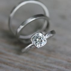 Moissanite White Gold Engagement Ring, 14k Palladium White Gold, Solitaire Cushion Cut Wedding Ring, Eco Friendly, Conflict Free -$1,348